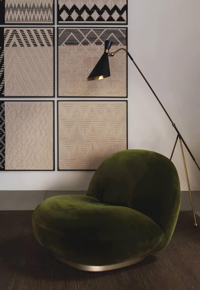 fauteuil velours vert foncé décoration intérieur salon contemporain blog clematc