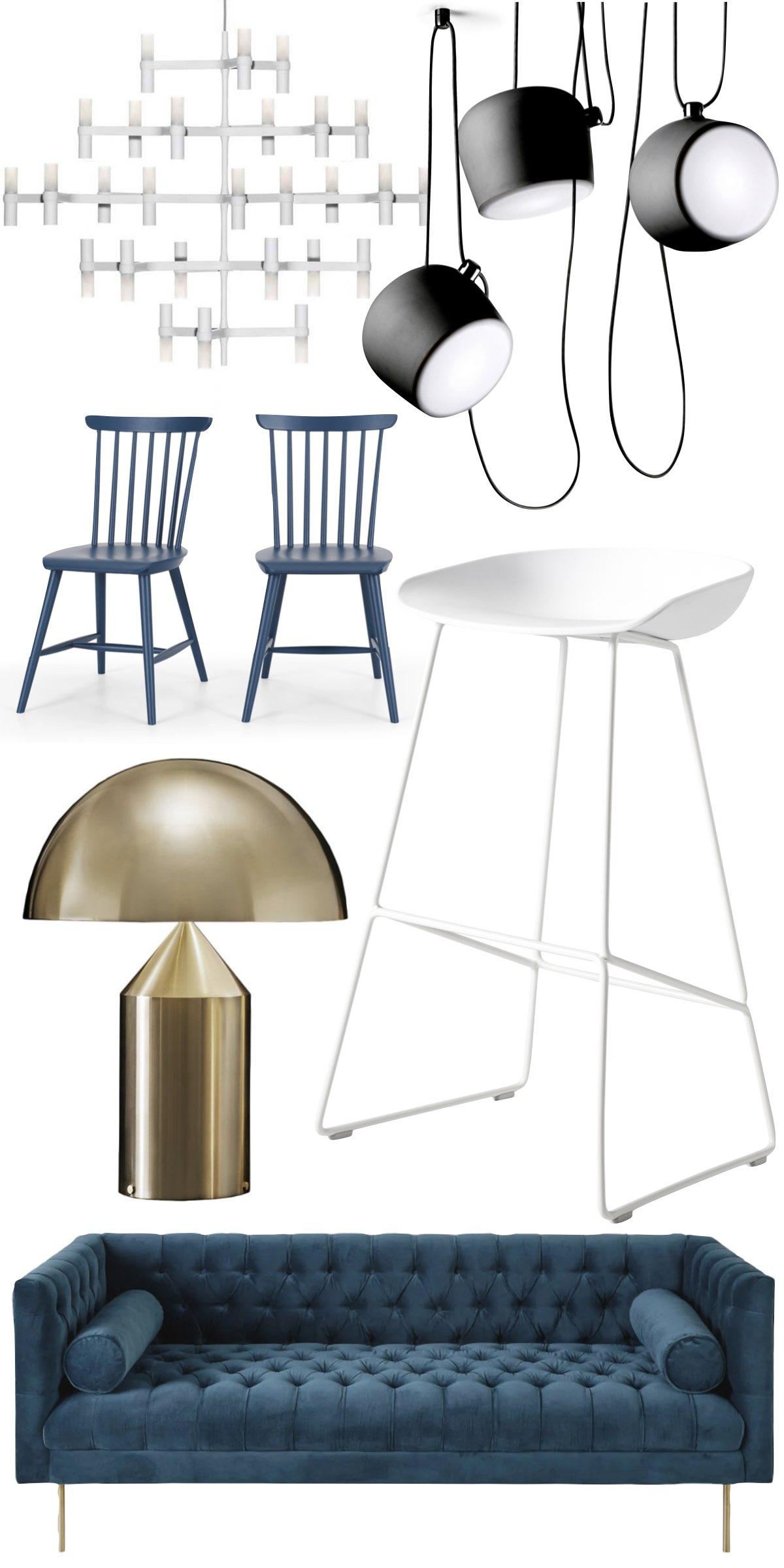 intérieur salon blanc bleu foncé velours tendance mode décoration designer - clem around the corner