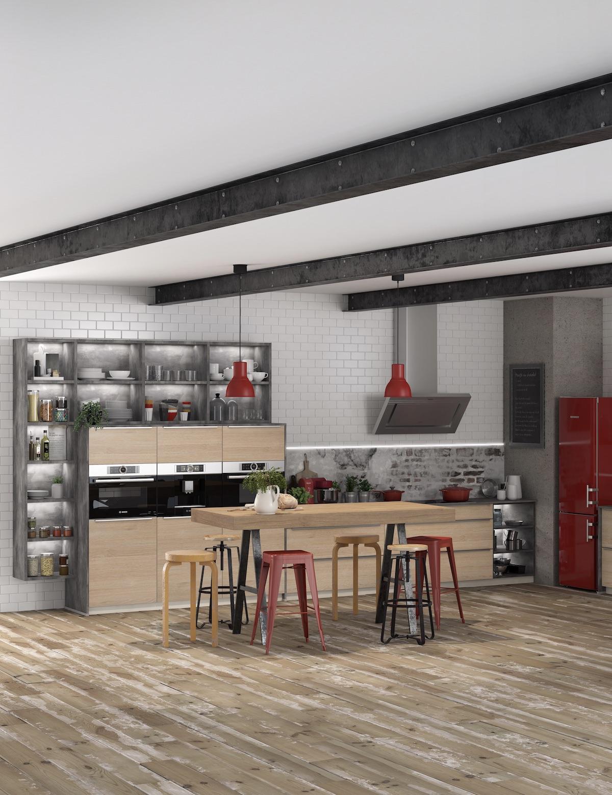 kitchenette rouge jaune bois gris anthracite façon industrielle décoration - clemaroundthecorner