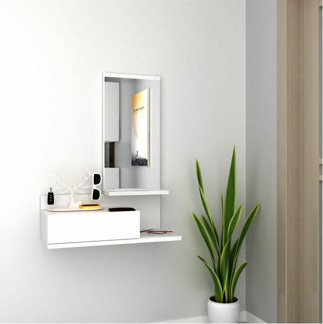 meuble entrée design blanc miroir tiroir suspendu plante verte - blog déco clematc