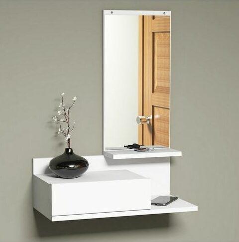 meuble rangement mural pas cher blanc miroir chambre table chevet studio optimiser rangement tiroir