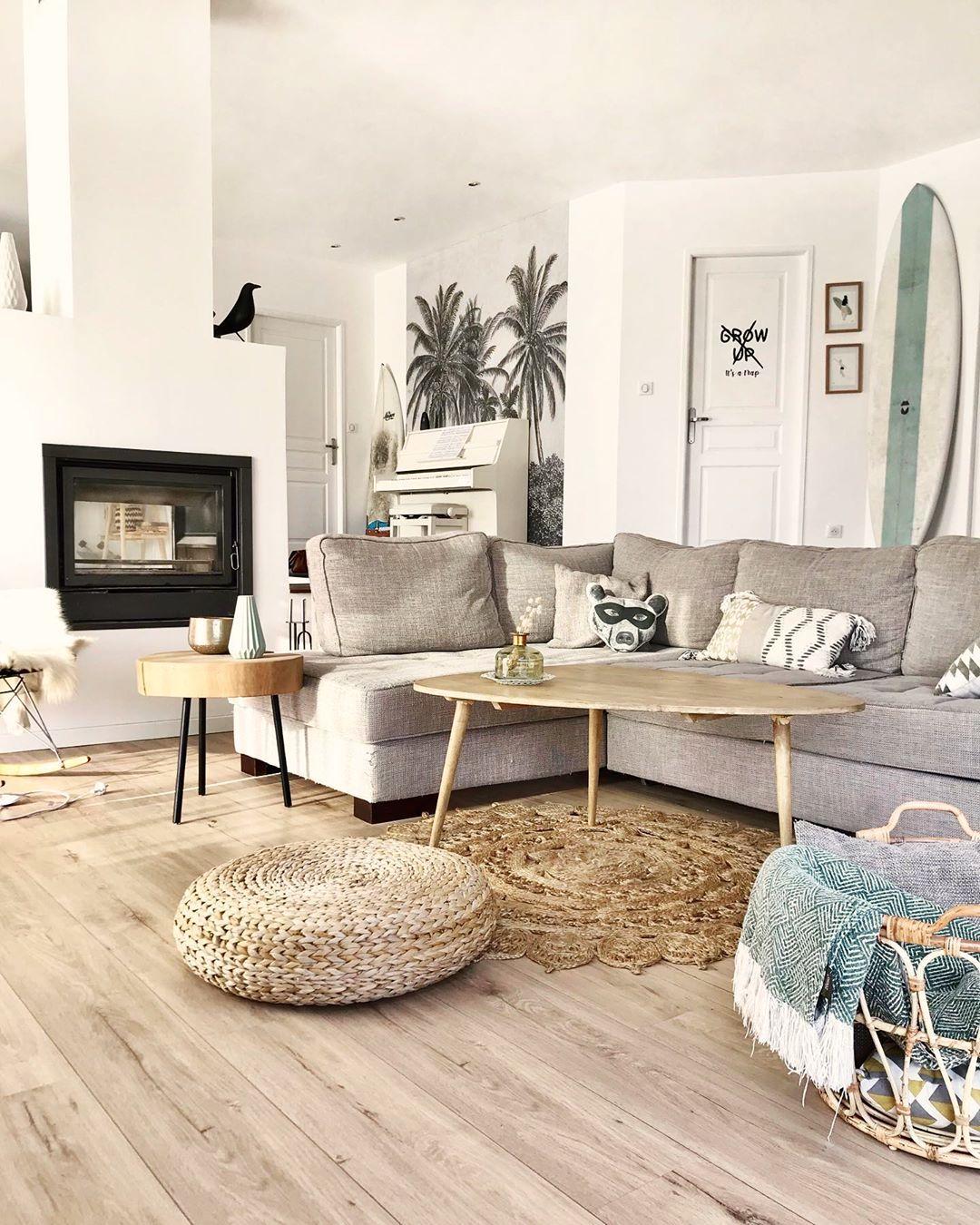 salon déco surf canapé d'angle gris table basse bois blog clematc