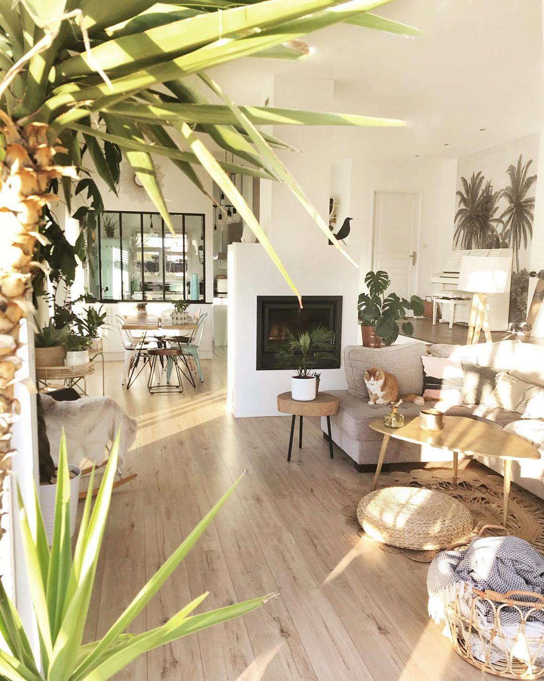 salon déco tropicale table basse bois pouf rond osier papier peint gris végétal