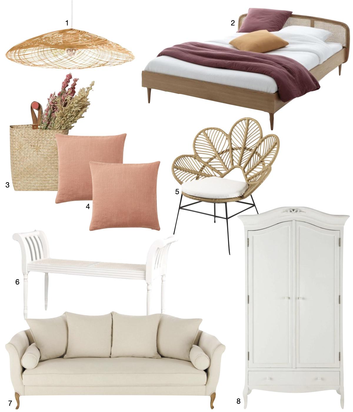 style cottage canapé armoire blanche vintage lit cannage