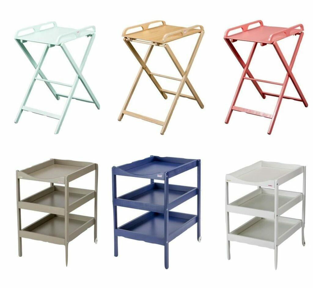 table à langer étroite fine pliante pliable bois vert rose bleu grise