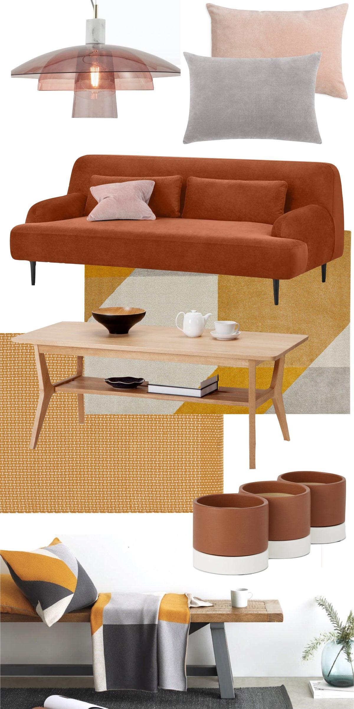 tendance déco 2021 couleur ocre salon design - blog décoratrice d'intérieur - clem around the corner