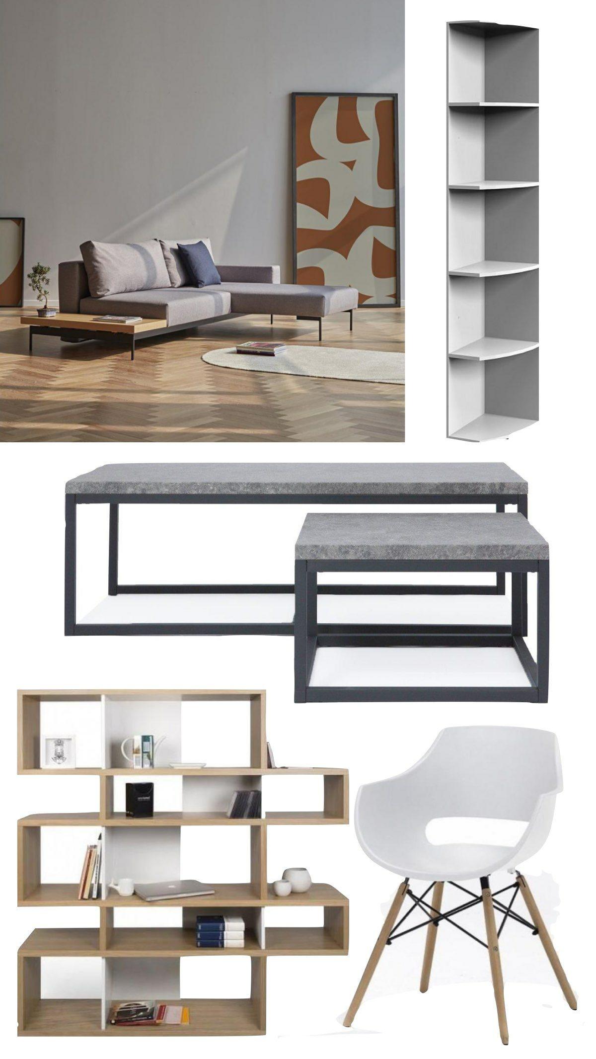aménagement meuble salon pas cher canapé lit style loft table basse béton plateau pied métal noir rectangle