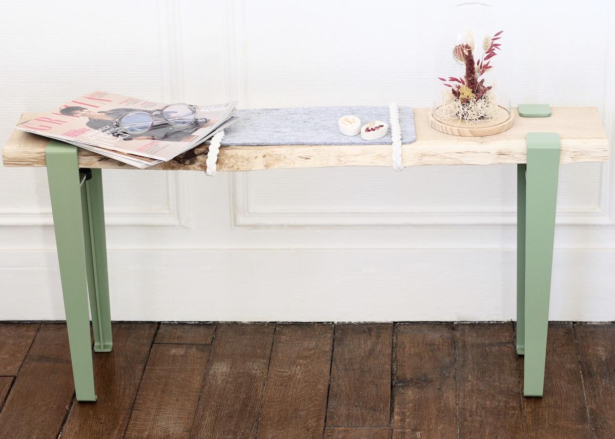 banc d'entrée DIY décoratif pied épingle blog création déco - clem around the corner
