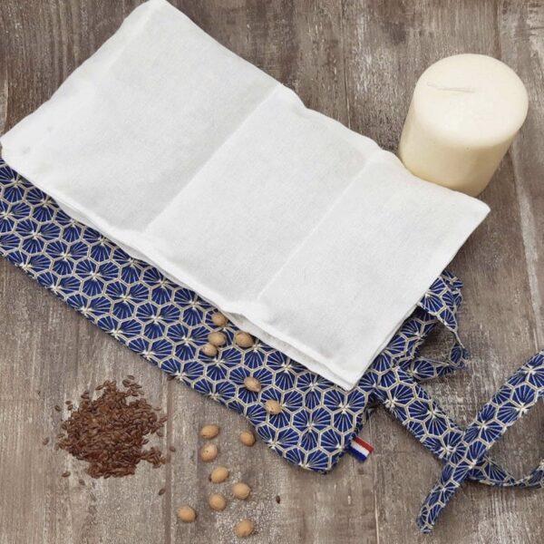 bouillotte sèche en noyaux de cerise et graines de lin