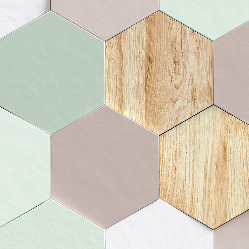 carrelage mixte géométrique bois taupe vert pastel