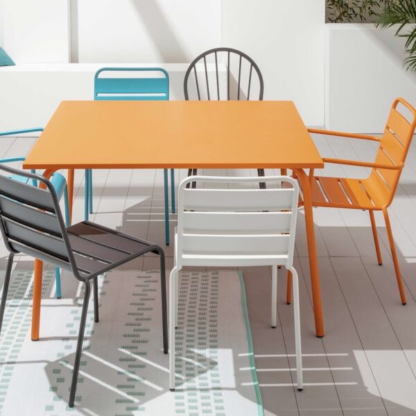 chaise de jardin en métal imitation fermob pas cher turquoise gris blanc orange