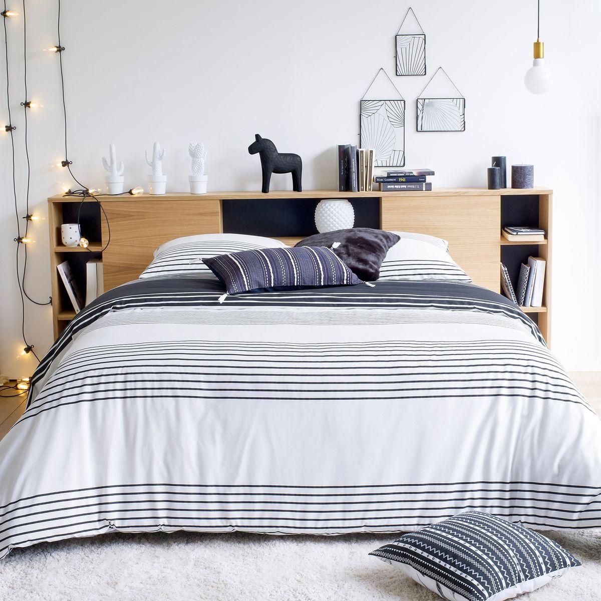 chambre ado garçon fille thème style scandinave bleu marine blanc bois