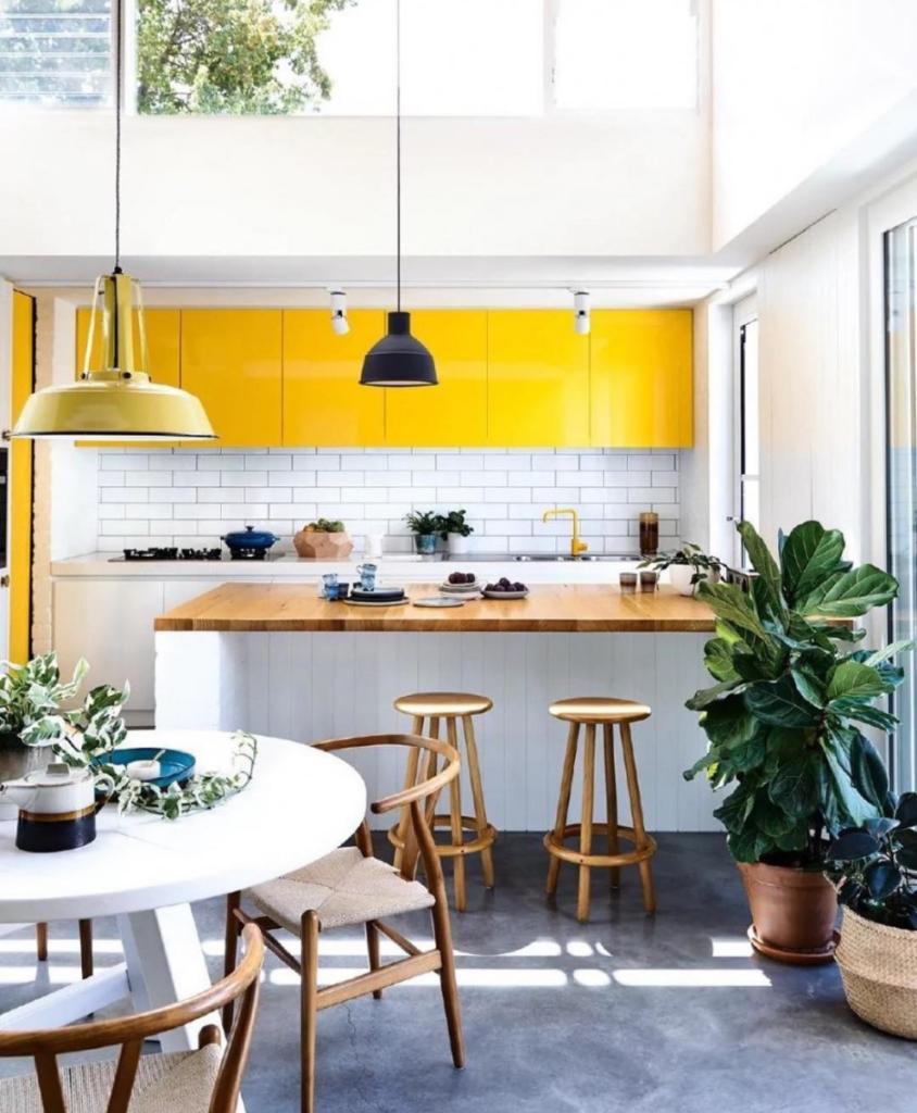 cuisine jaune bar tabouret haut rond en bois plante verte sol effet béton