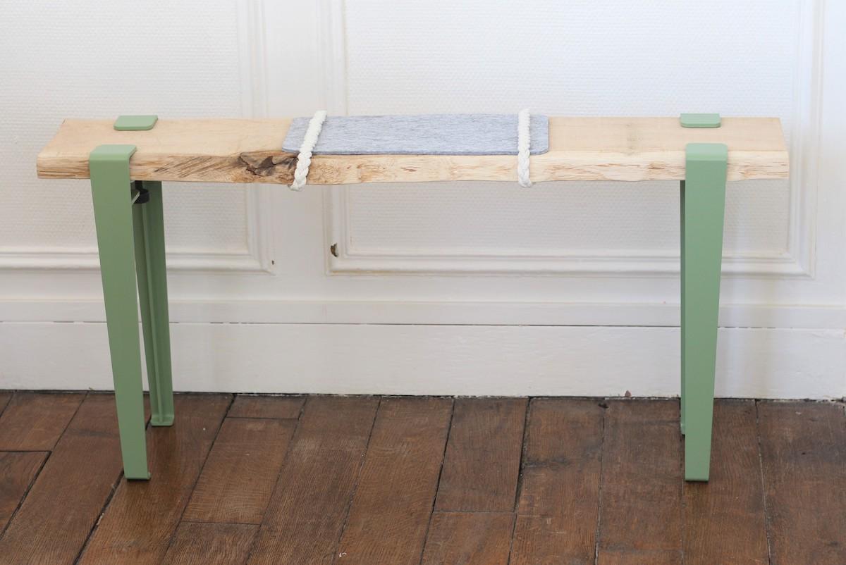 fabriquer soi-même banc d'entrée DIY en bois scandinave nordique design vert pastel