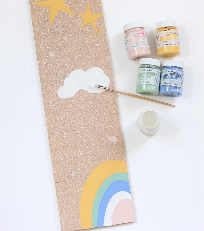 faire tableau bois déco chambre bébé peinture gouache posca