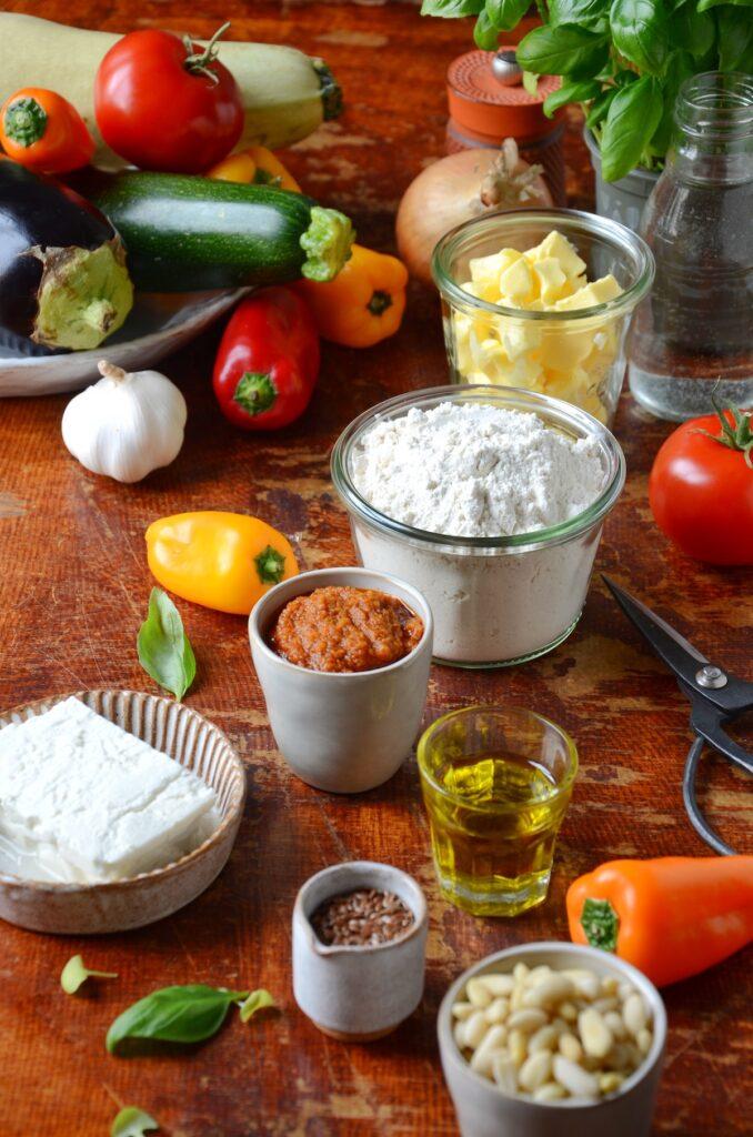 ingredient tarte salée été apéro fête poivron courgette aubergine