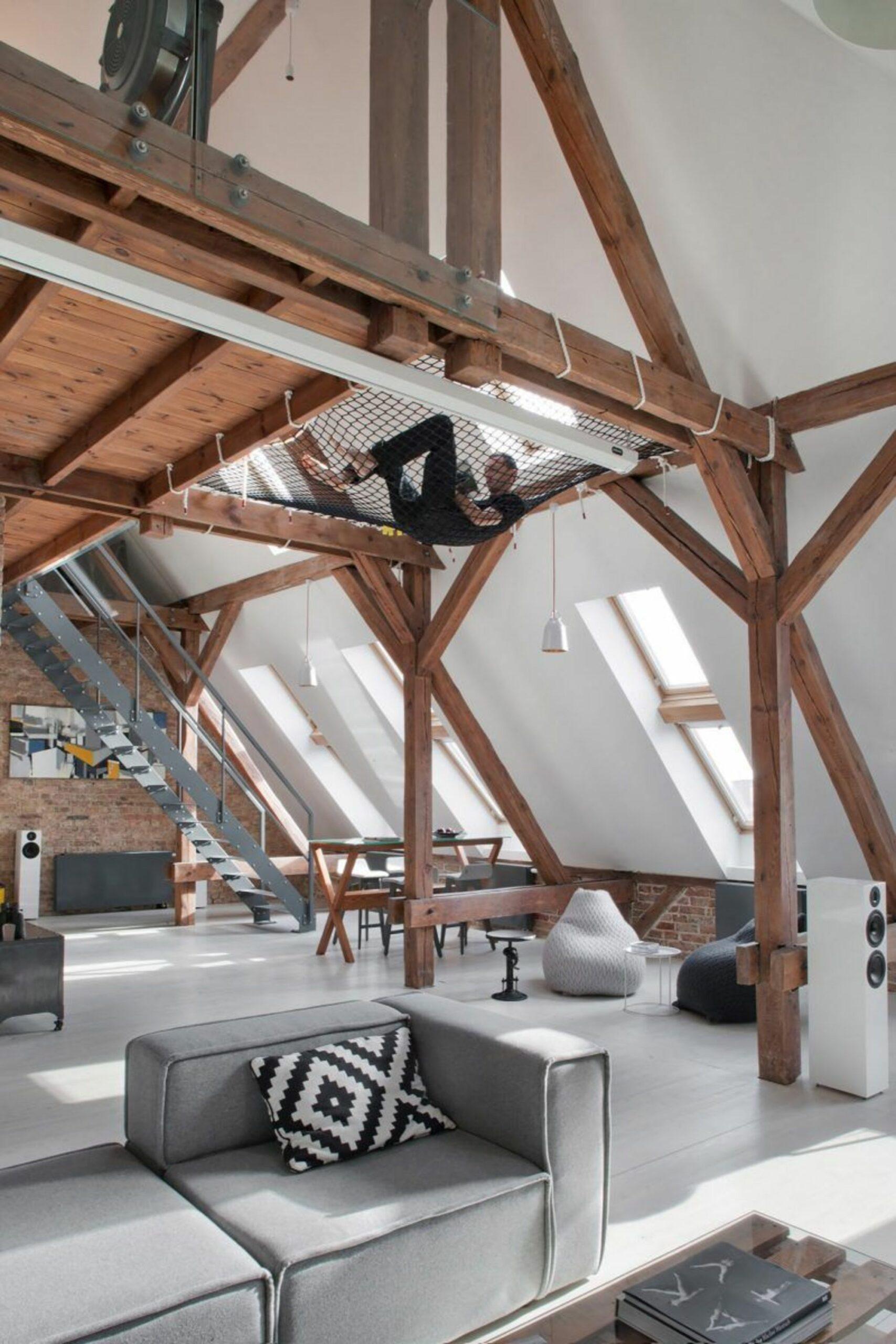 mezzanine loft hamac poutres apparentes trampoline - blog déco - clemaroundthecorner