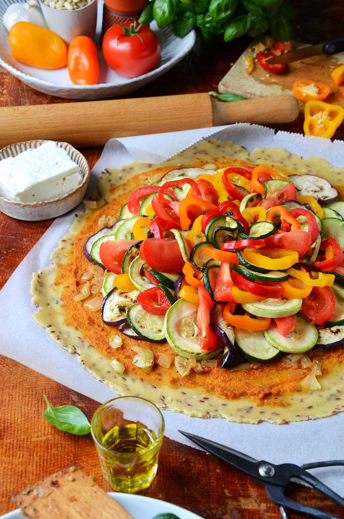 préparation tarte aux légumes du soleil feta pignons faite-maison étape
