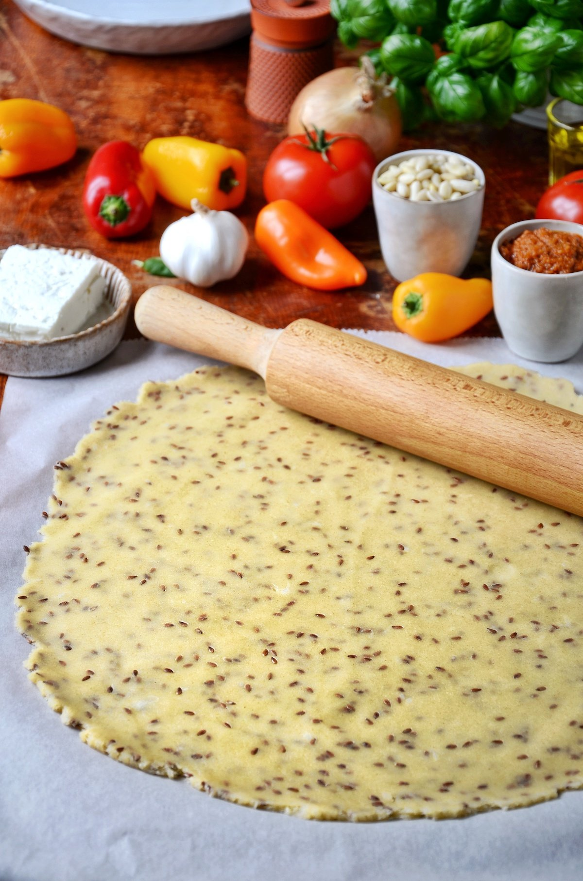 recette facile pate tarte rustique graine de lin - clem around the corner