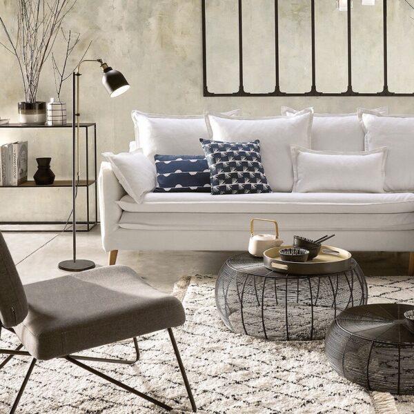 salon soldes 2020 La Redoute canapé blanc lin pas cher meuble design