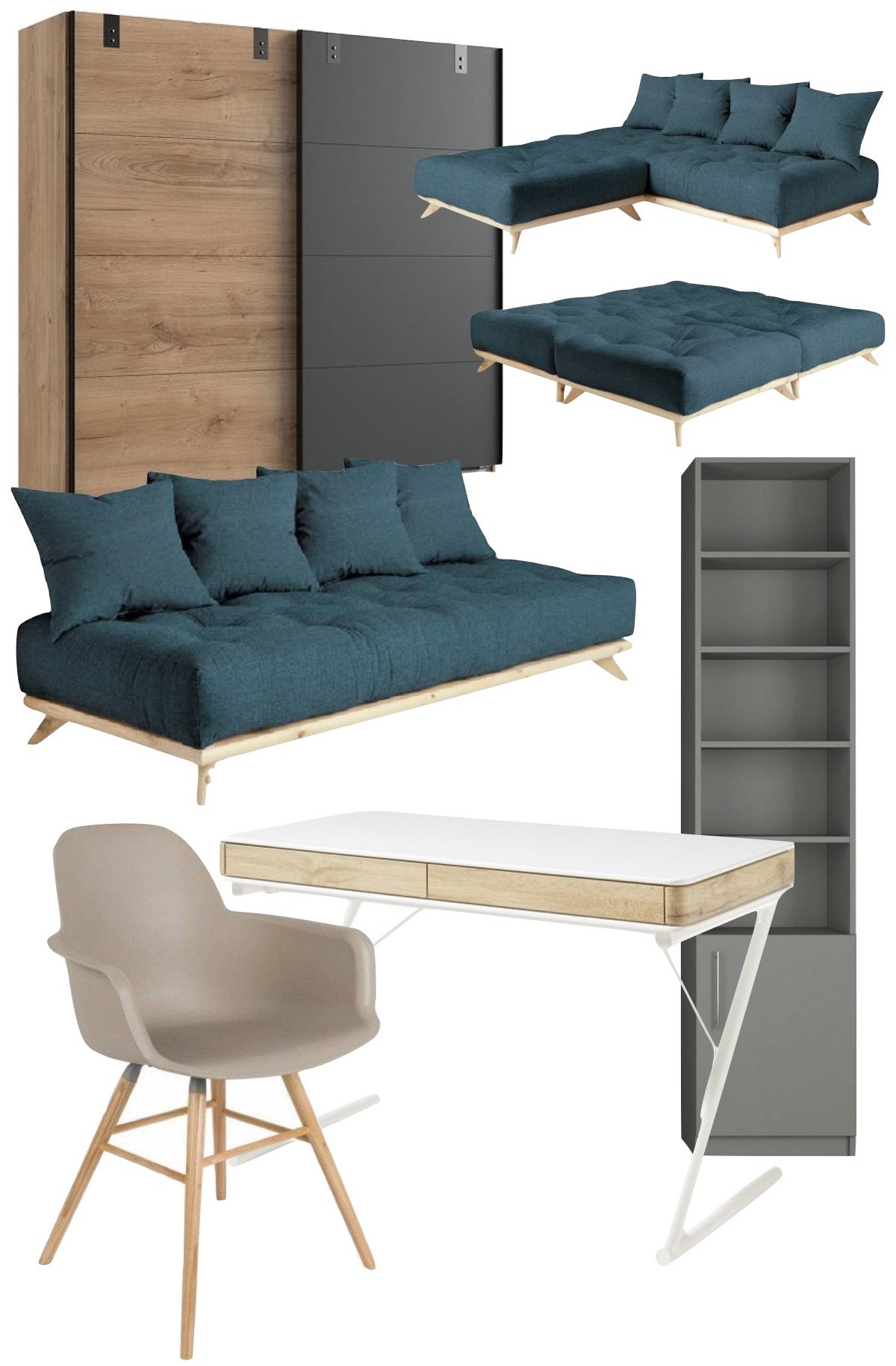 soldes 2020 inside75 canapé convertible chambre ado moderne scandinave grise bois bleu design