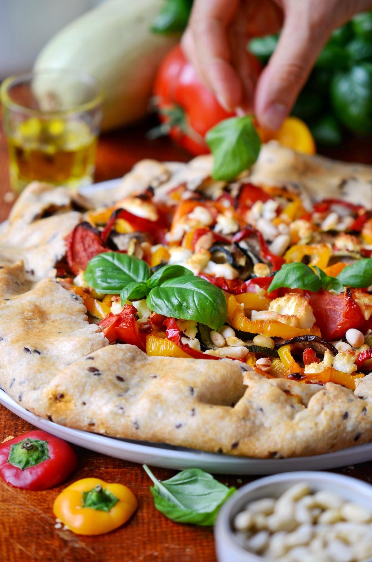 tarte aux légumes du soleil feta pignons basilic recette facile poivron tomate