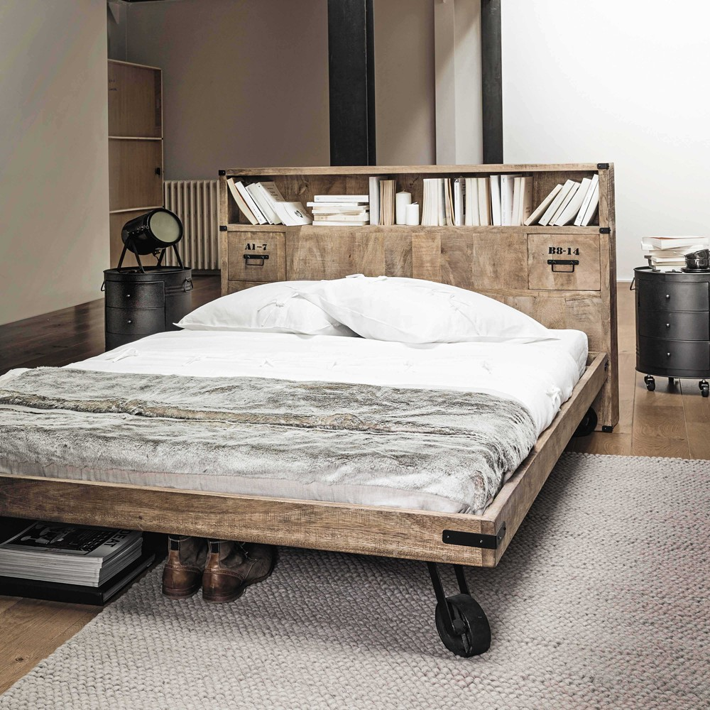 tête de lit avec rangement en manguier massif bois roulette style industriel atelier loft chambre