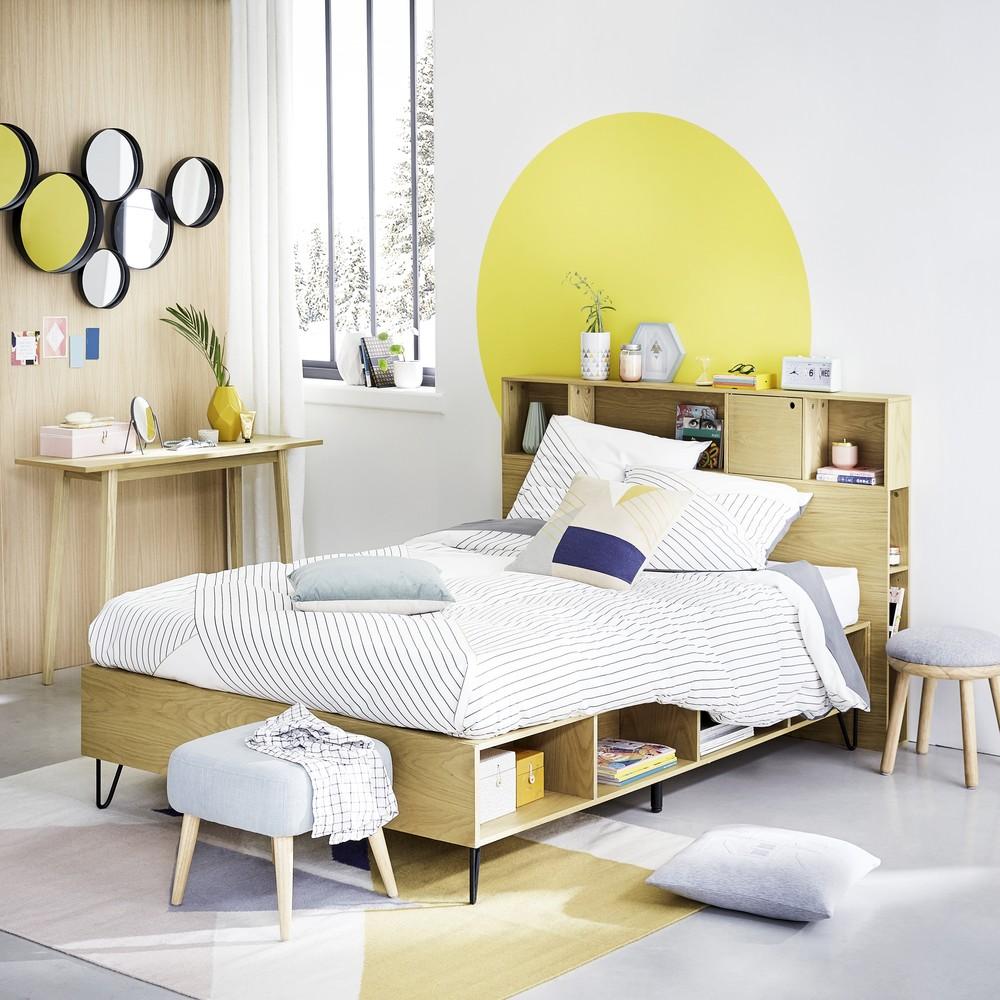 tête de lit avec rangement scandinave chic bois chambre rond peinture jaune murale chambre ado fille