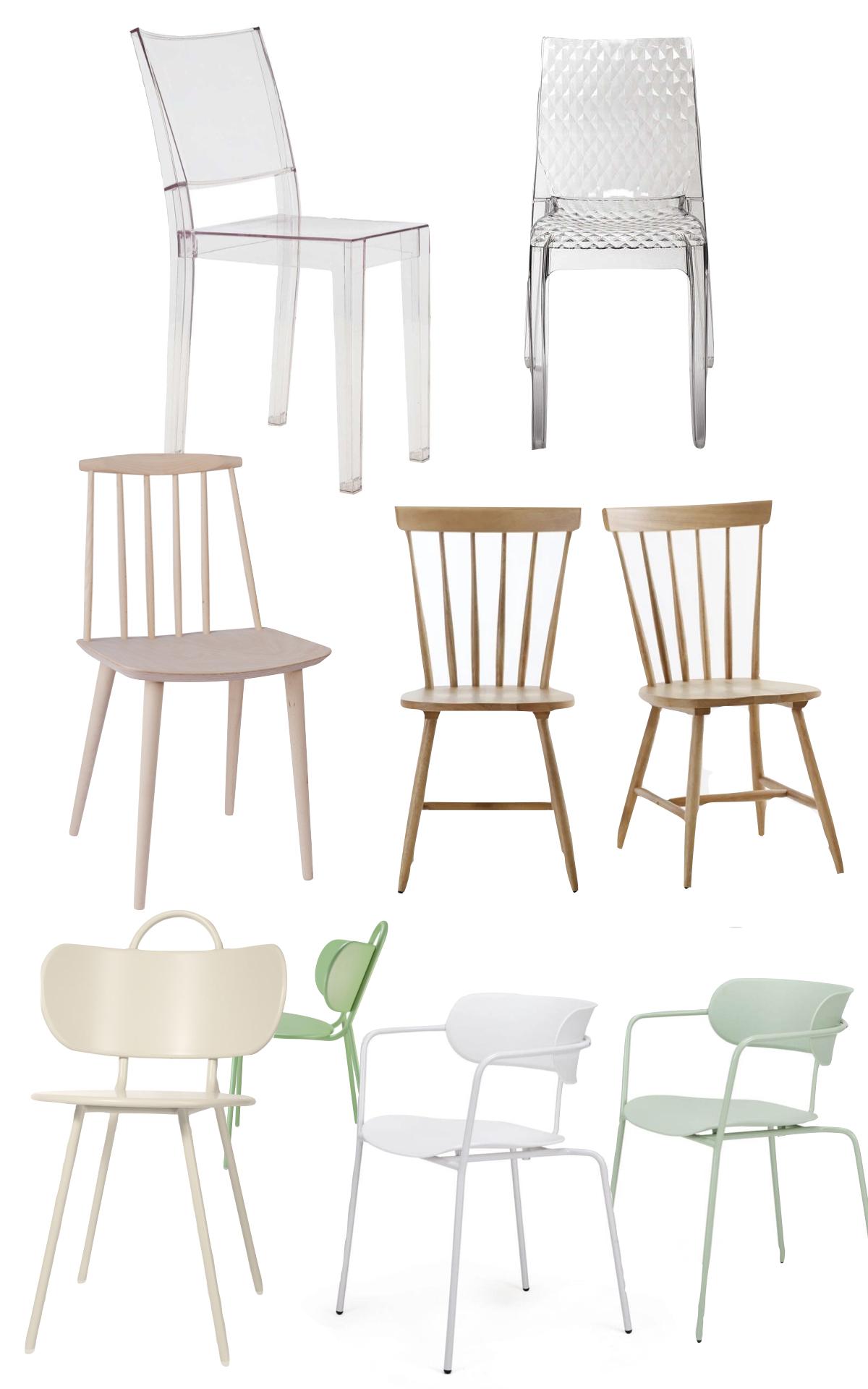 chaise originale salle à manger bois métal plastique transparente pas chère