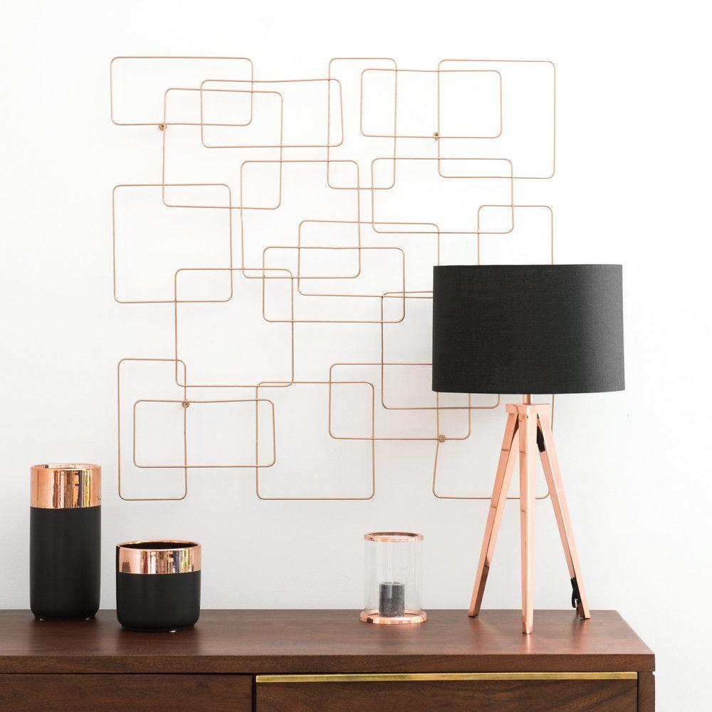 déco design moderne pot cuivre cadre mural lampe abat jour noir