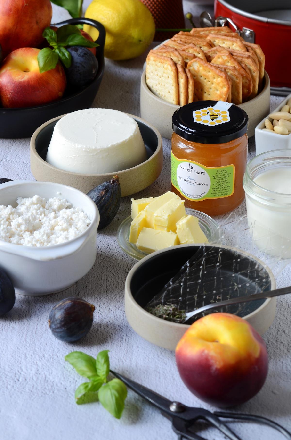 ingrédient dessert fait-maison cheesecake salé chèvre fromage miel