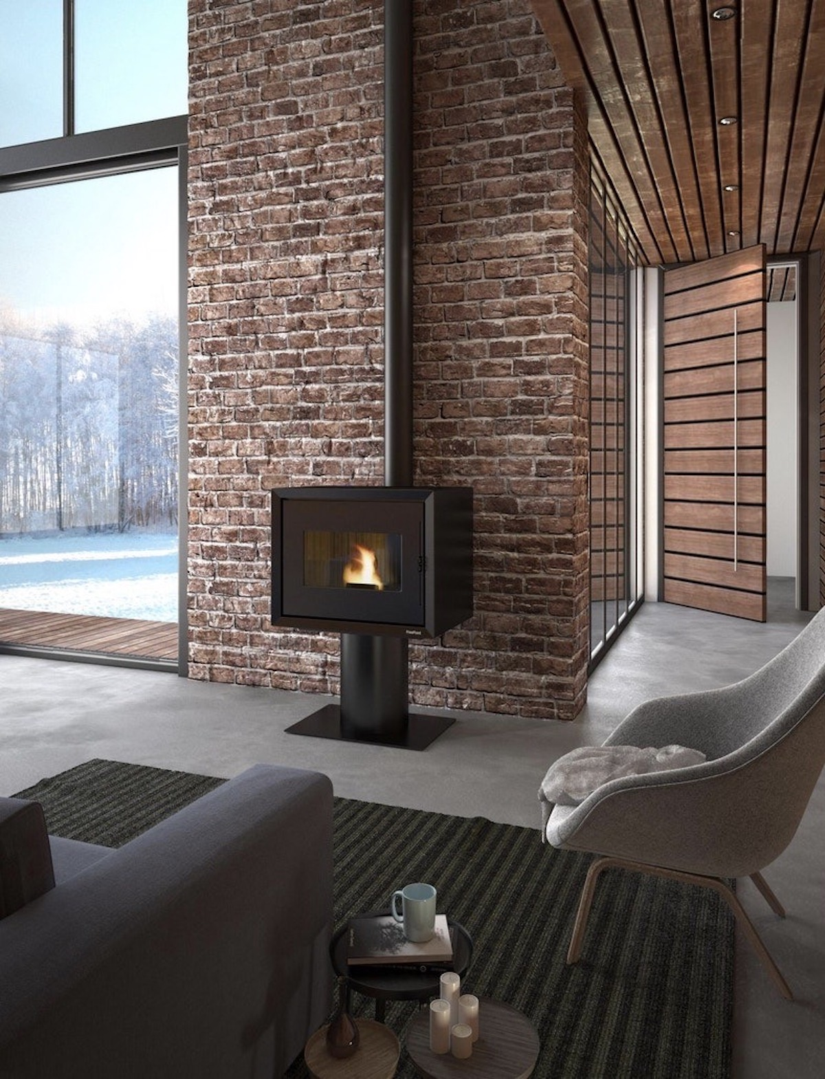 poêle à granule salon mur de briques fauteuil scandinave