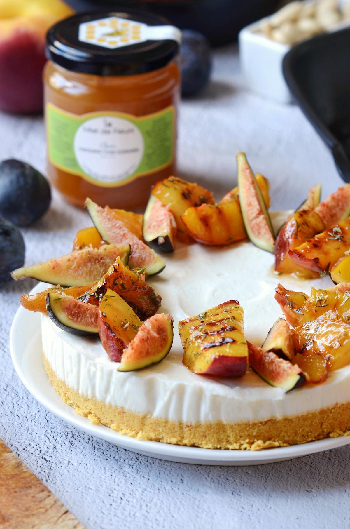 recette pas à pas cheesecake salé chèvre pêche dessert original