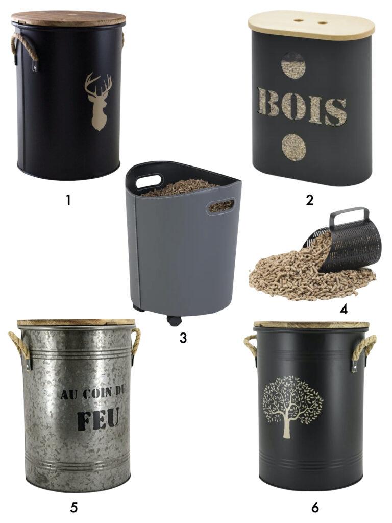 réservoir granules métal noir cuir gris pelle