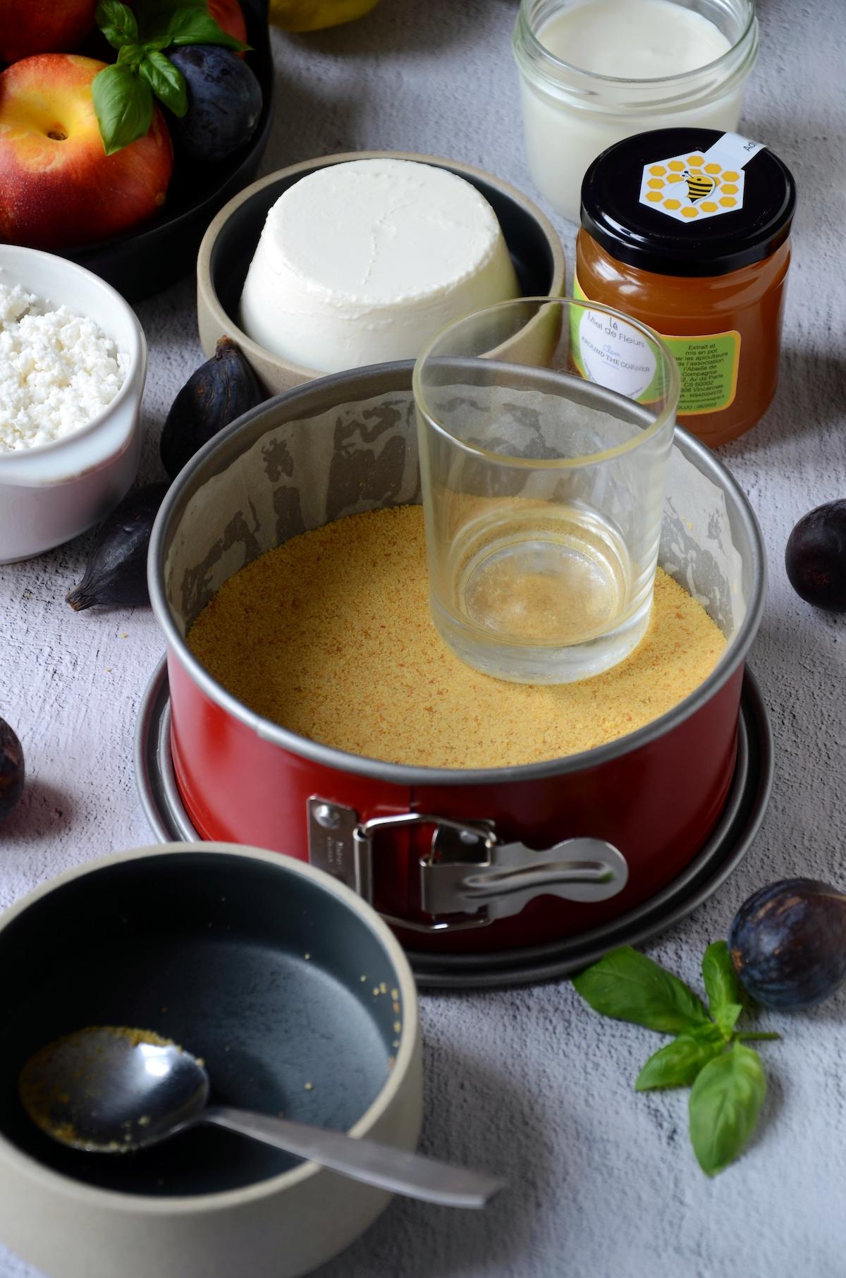 réussir recette cheesecake chèvre nectarines rôtie miel - clem around the corner