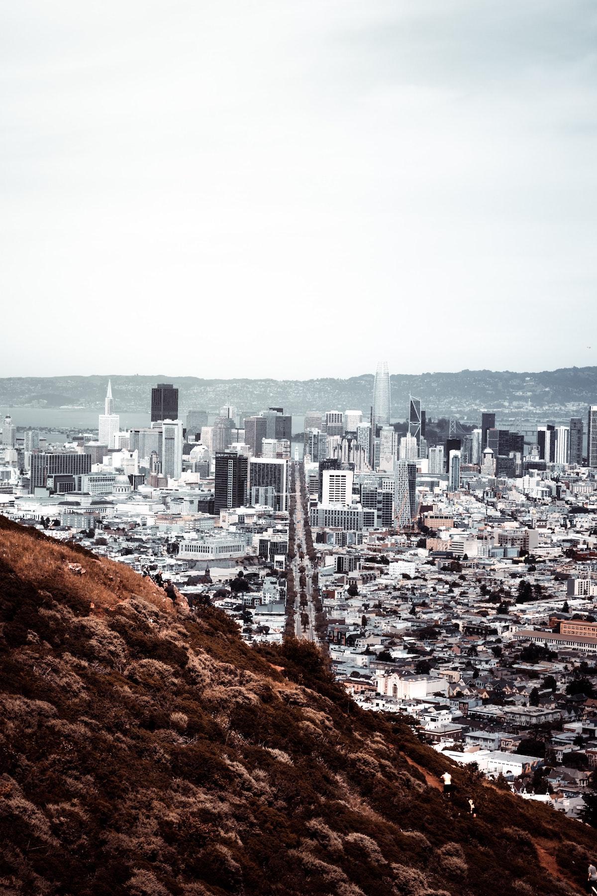 skyline gratte-ciel tour San Francisco bâtiment depuis twin peaks architecture