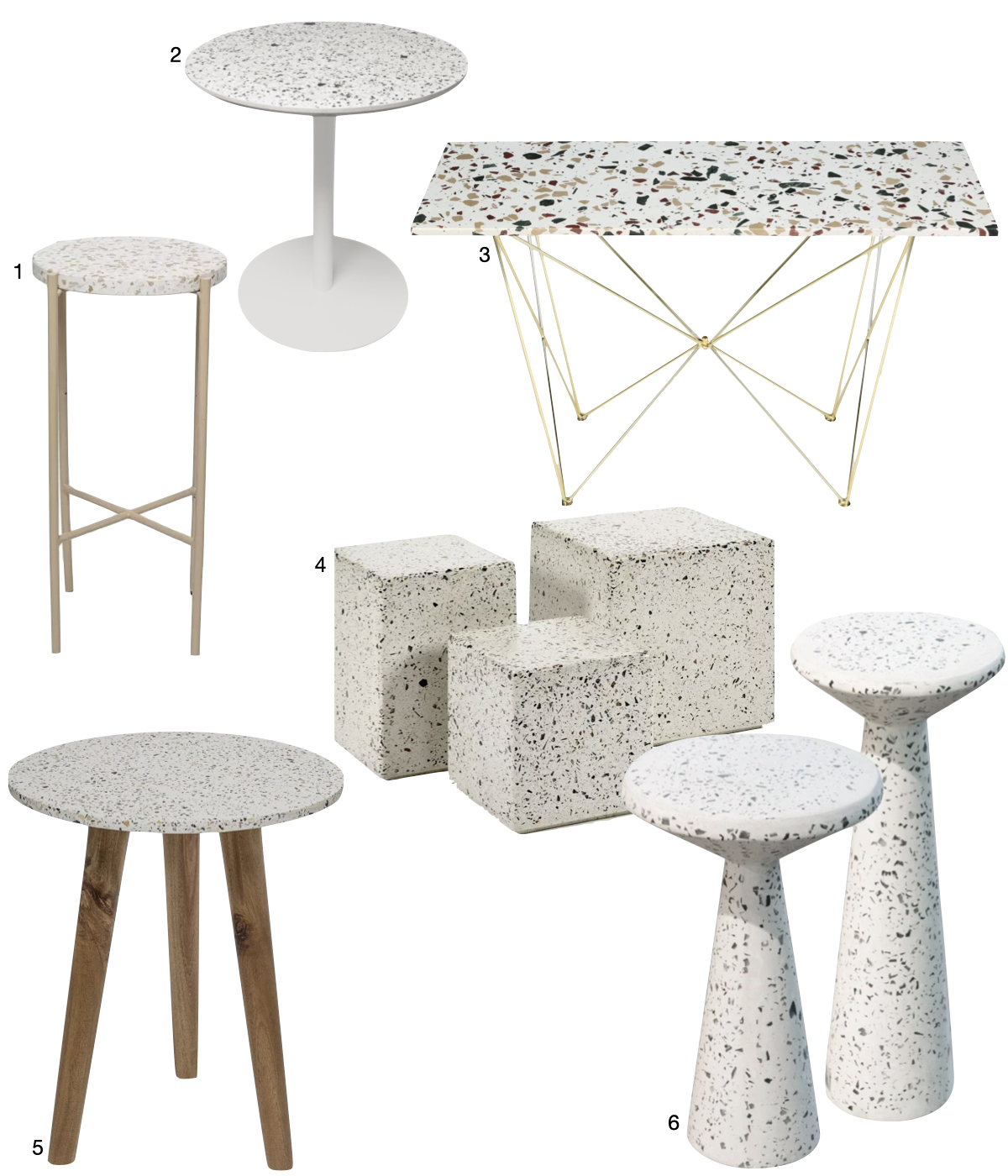 table ronde carrée rectangle granito terrazzo blanc pieds bois béton laiton