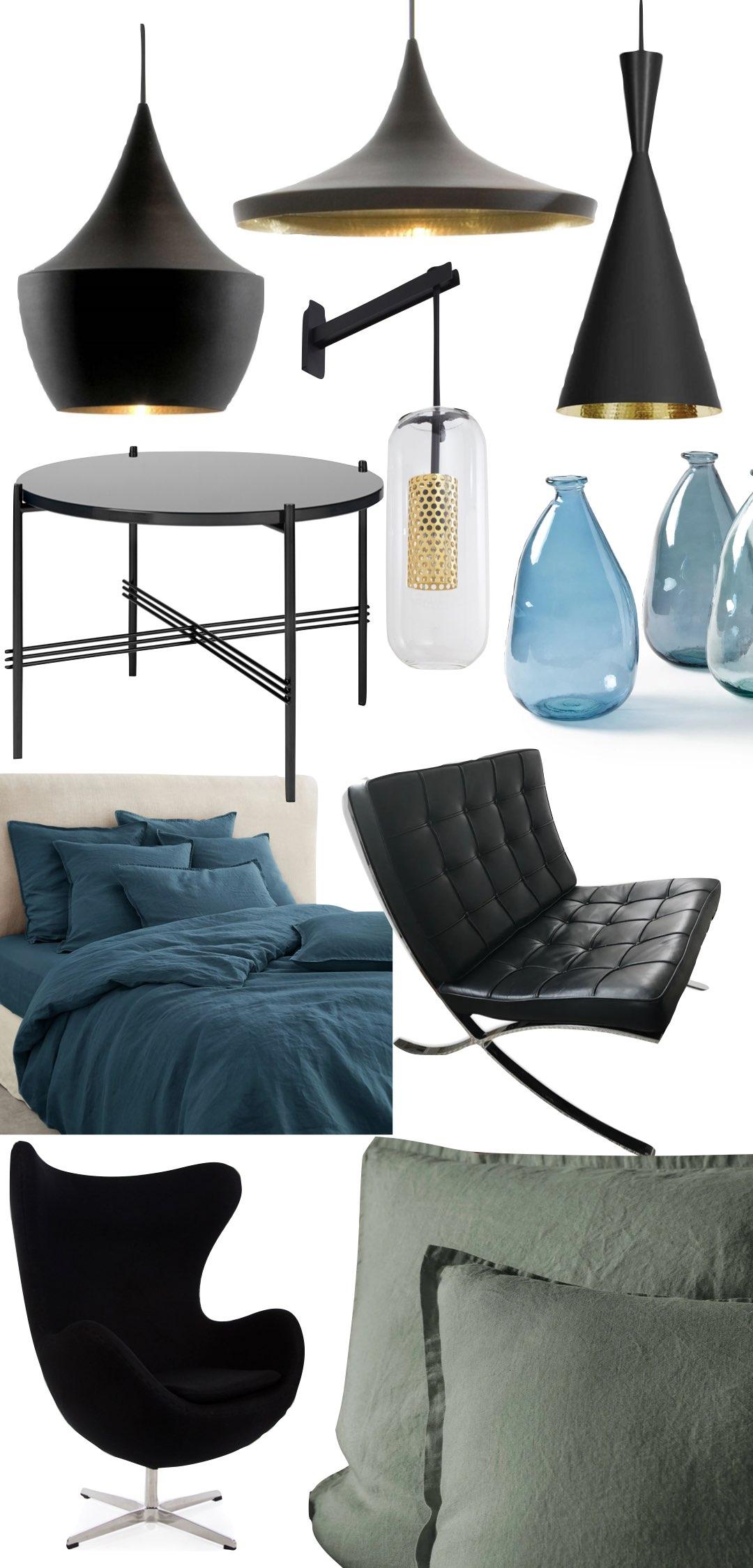 agence Véronique Cotrel Paris appartement noir fauteuil design lin