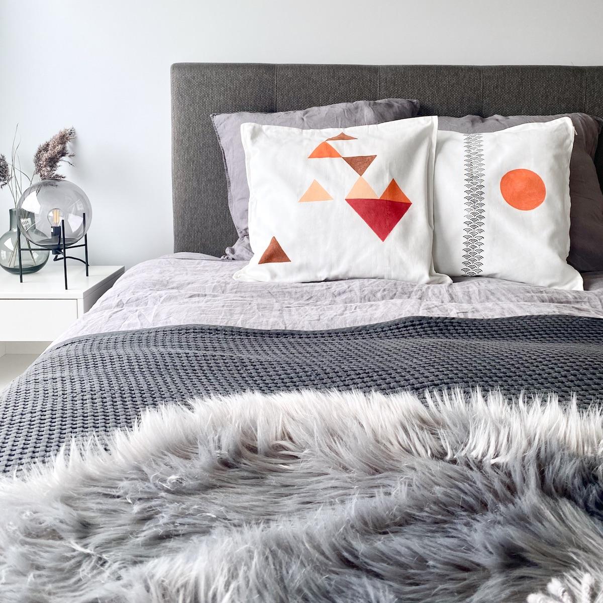 chambre grise scandinave idée déco nuance de gris fausse fourrure