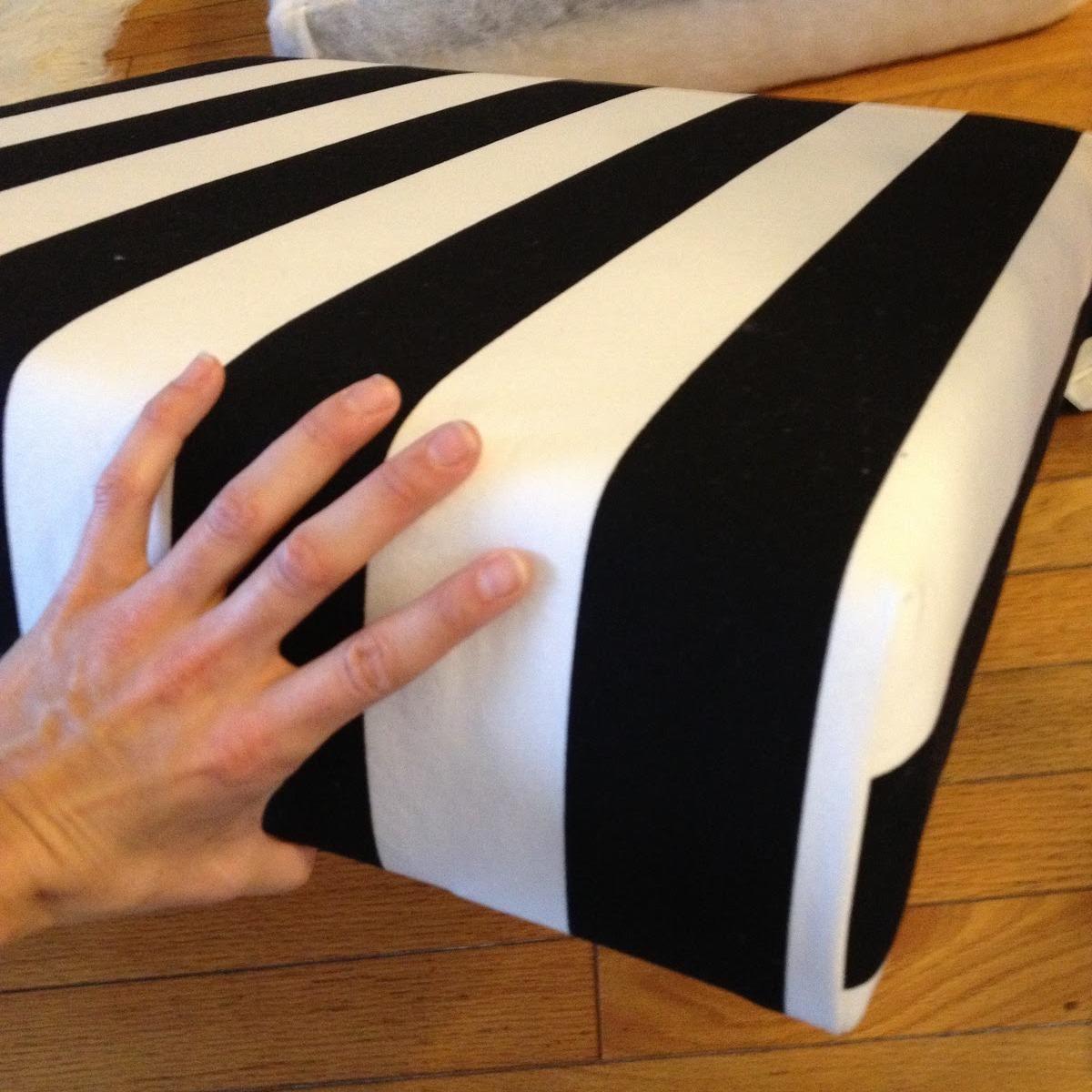 fabriquer soi-même pouf rayé pour chambre salon décoration diy