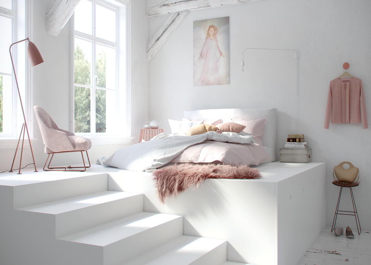 lit estrade blanc tapis fourrure rose pastel poutre bois