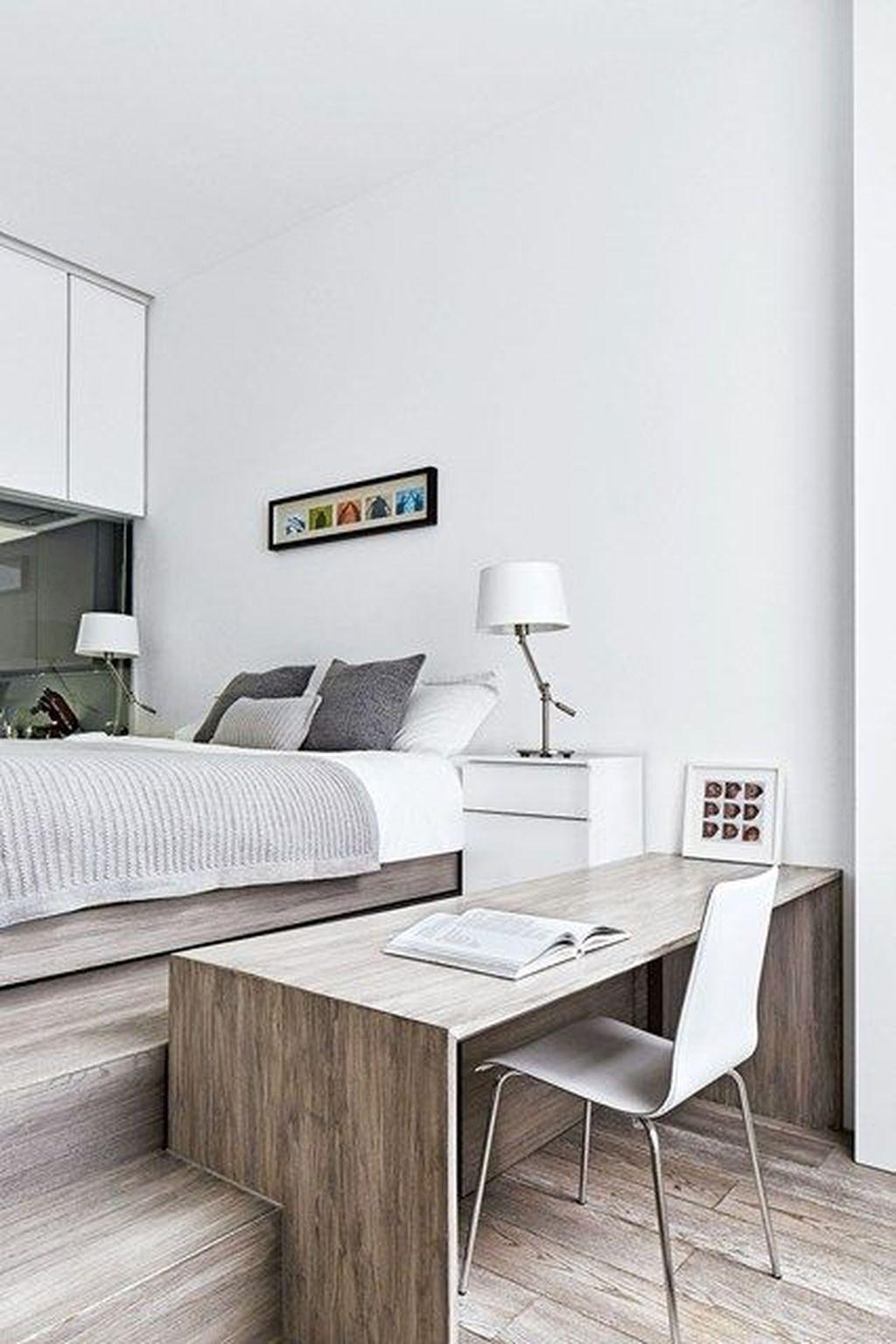 lit estrade bureau incrusté bois gris déco sobre