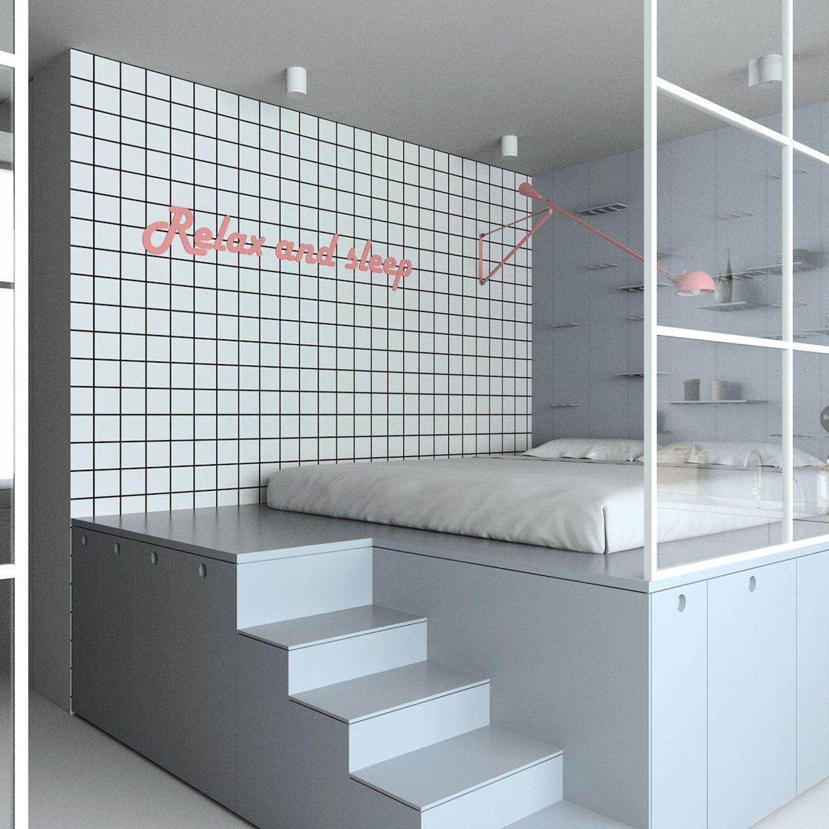 lit estrade gris clair mur carreaux blancs décoration murale rose blog clematc