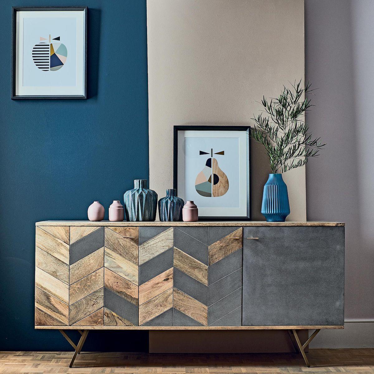 meuble style scandinave bois gris béton mur bleu canard blog déco