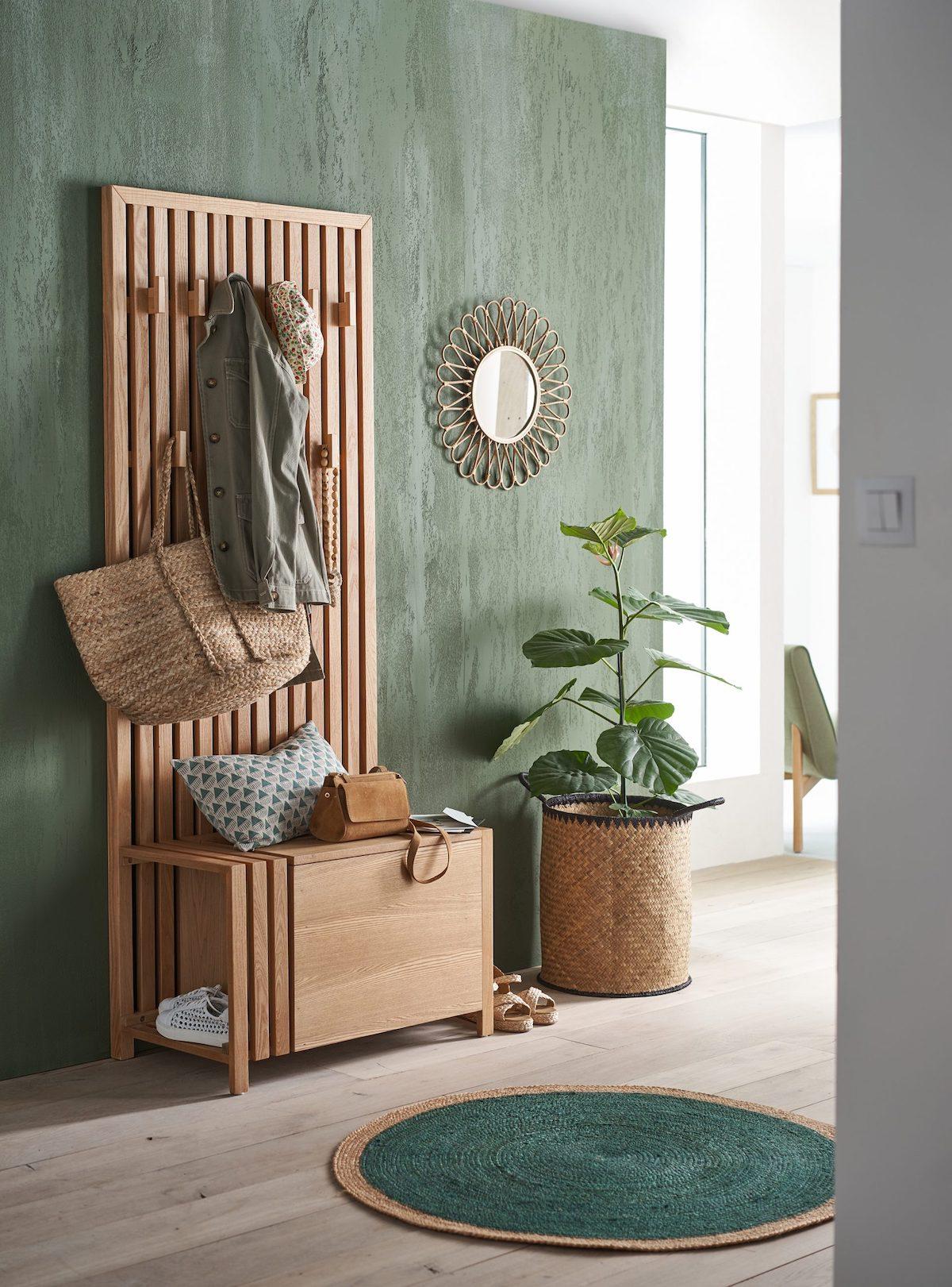 nouvelle collection La Redoute Intérieurs aménager petite entrée meuble coffre porte-manteau bois