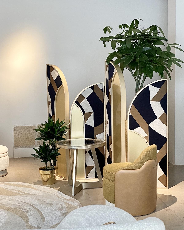 paravent cloison amovible années 30 laiton tissu bois Atelier Tristan Auer Wilson Associates Lelièvre