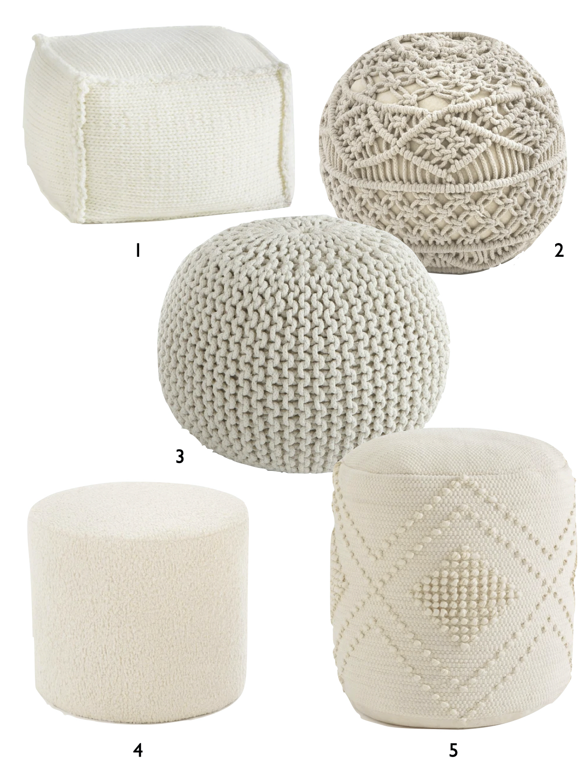 pouf tricot hiver cocooning blanc beige tendance design - blog déco - clemaroundthecorner