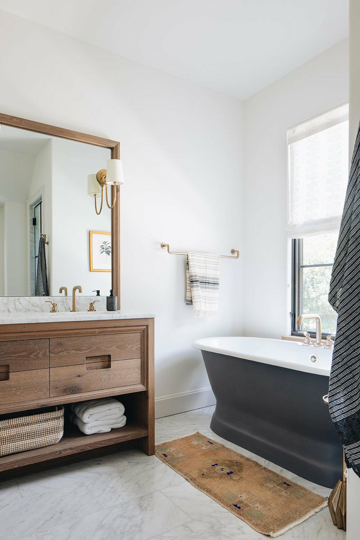salle de bain baignoire ilot hors sol noir mat - blog déco - clemaroundthecorner