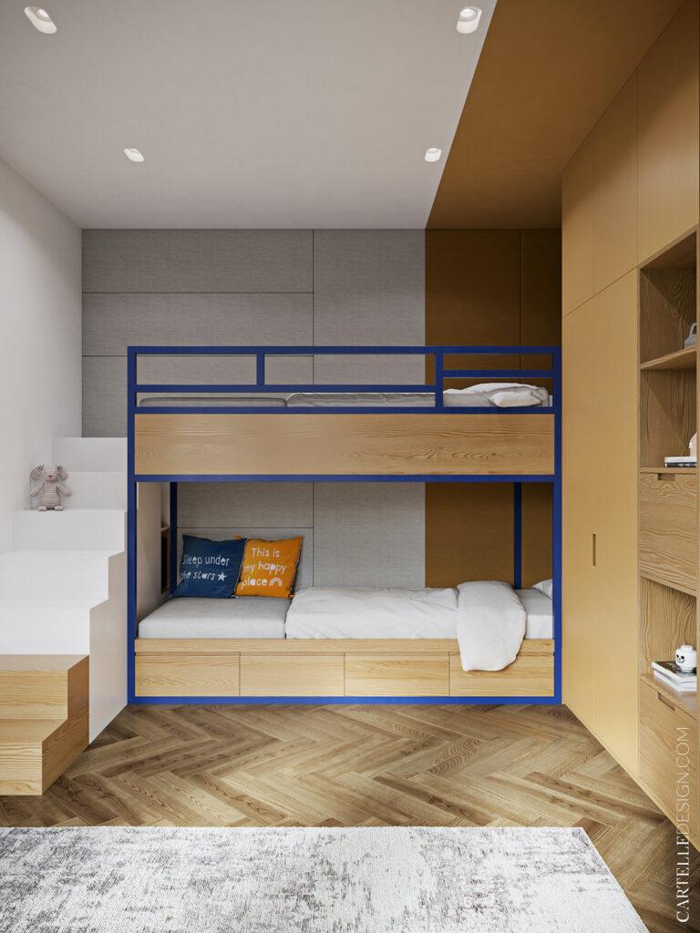 Appartement 3 pièces t3 chambre deux enfants lit superposés sur-mesure bois coffre