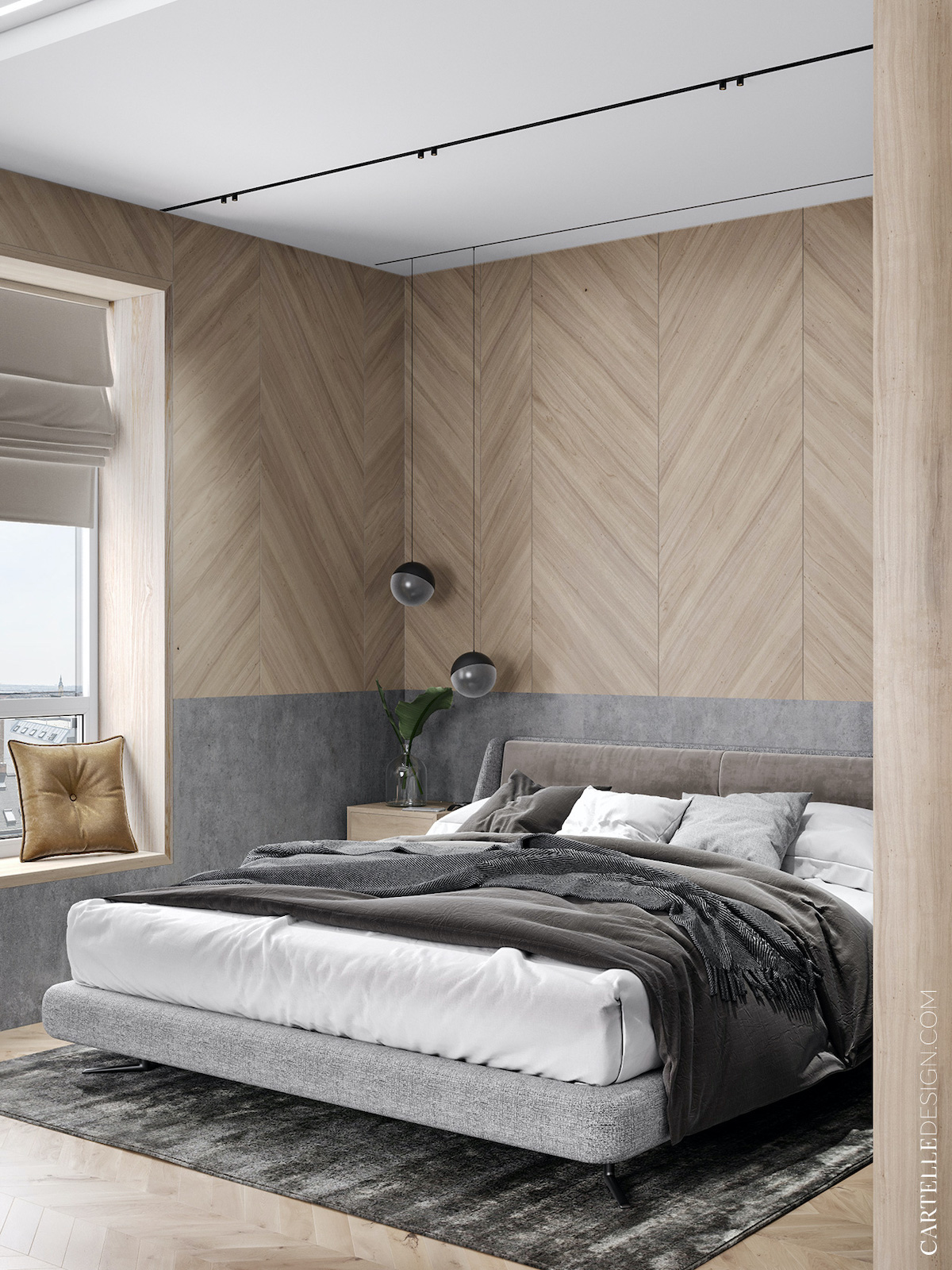 chambre déco gris bois cocoon design moderne cosy minimaliste style hotel